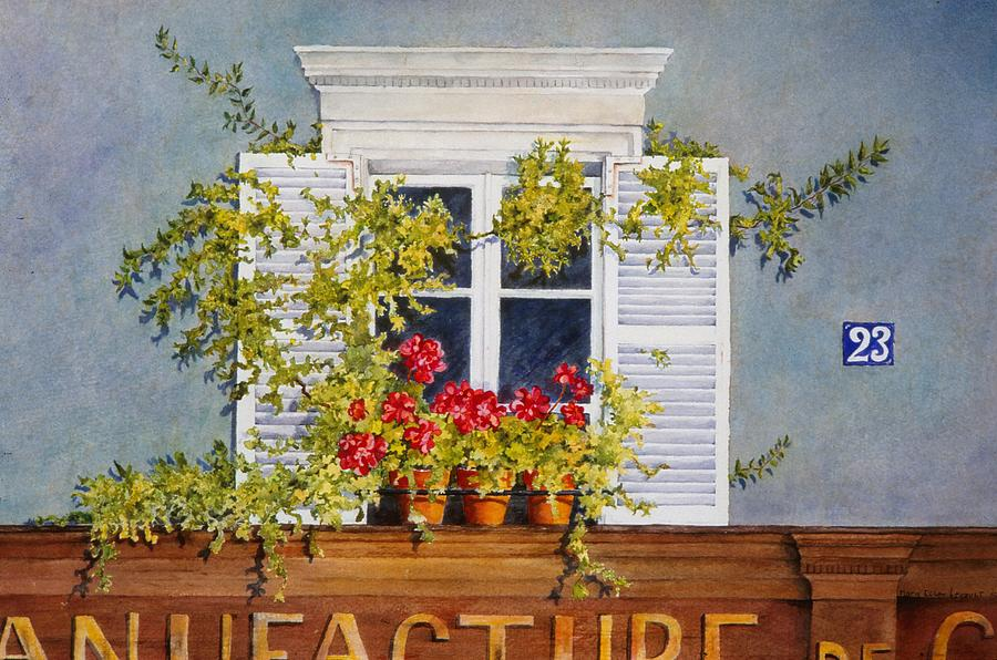 France Painting - Parisian Window by Mary Ellen Mueller Legault