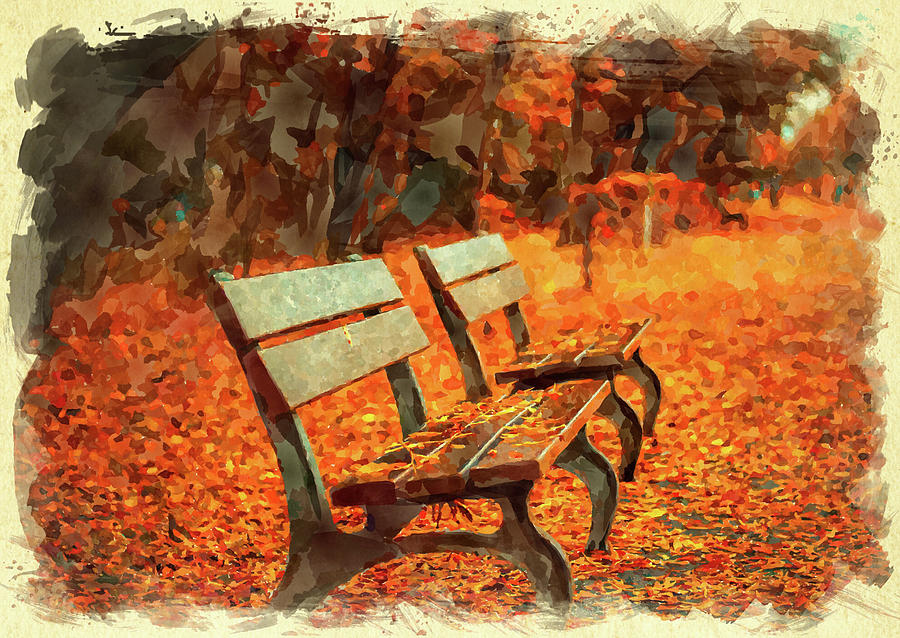 Park Digital Art - Park Bench In Fall by Ricky Barnard