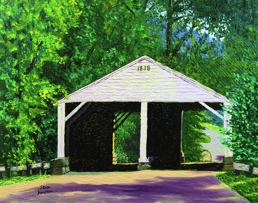 Covered Bridge Painting - Park Covered Bridge by Stan Hamilton