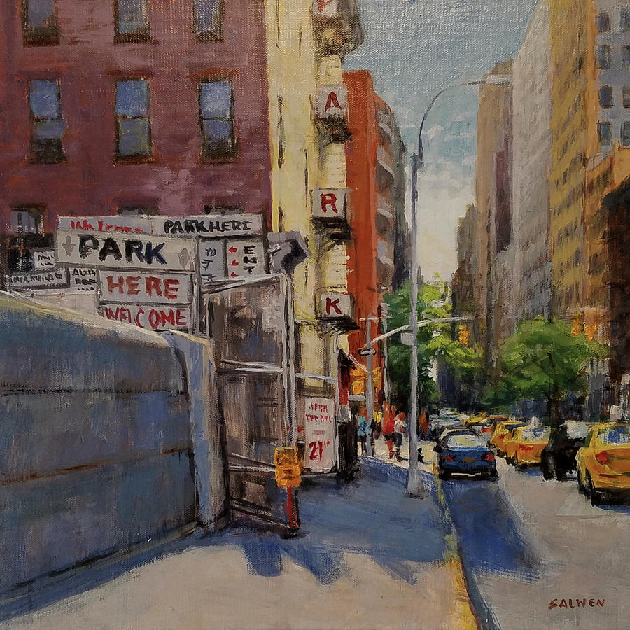 Manhattan Painting - Park Here by Peter Salwen