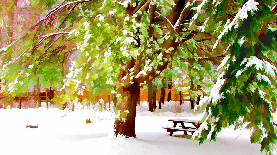 Background Painting - Park In Winter by Lanjee Chee