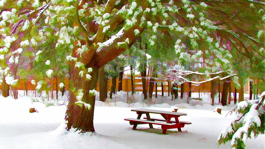 Background Painting - Park In Winter With Snow by Lanjee Chee