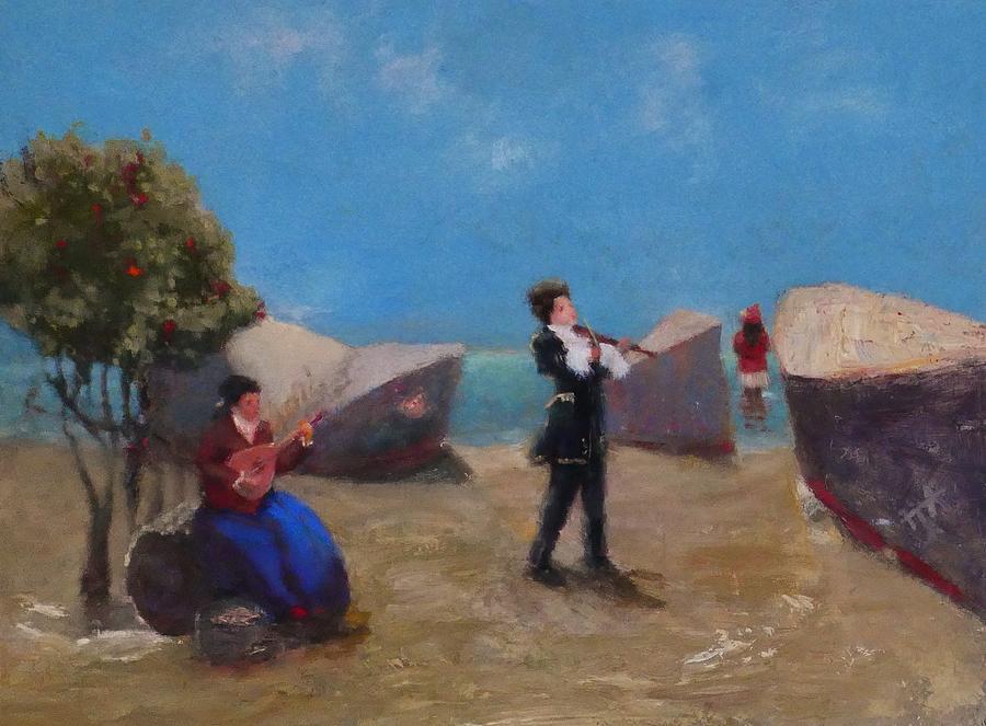 Violin Painting - Park Musicians by Irena  Jablonski