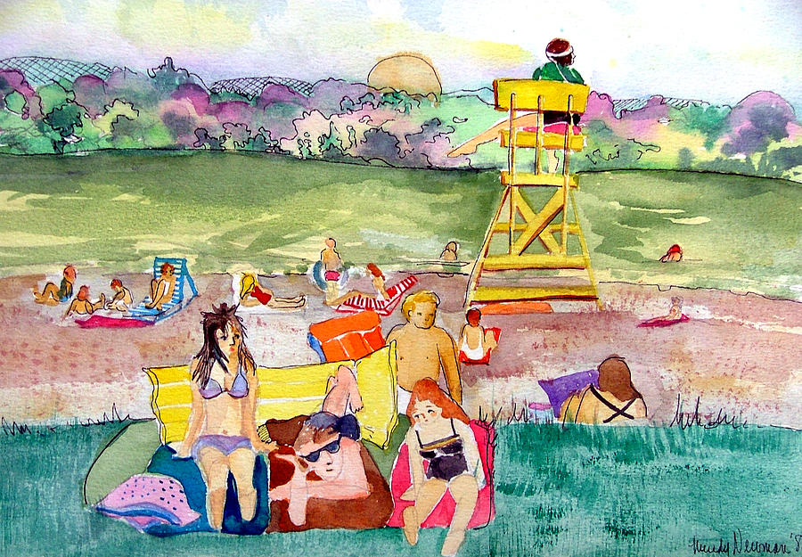 Life Guard Painting - Park Side Beaches by Mindy Newman