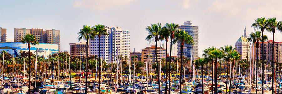 Long Beach Digital Art - Parking And Palms In Long Beach by Bob Winberry