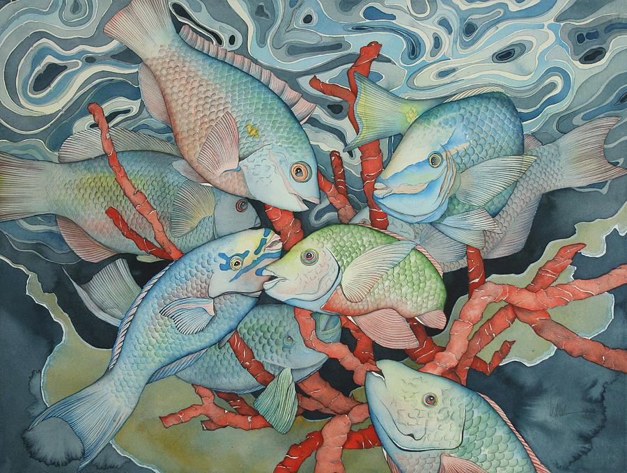 Fish Painting - Parromania by Liduine Bekman