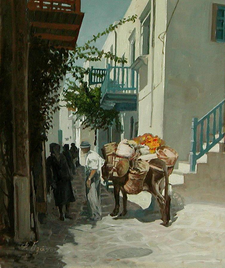 Road Painting - Parros-greece by Demetrios Vlachos