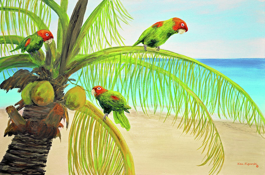 Parrot Beach Painting by Ken Figurski