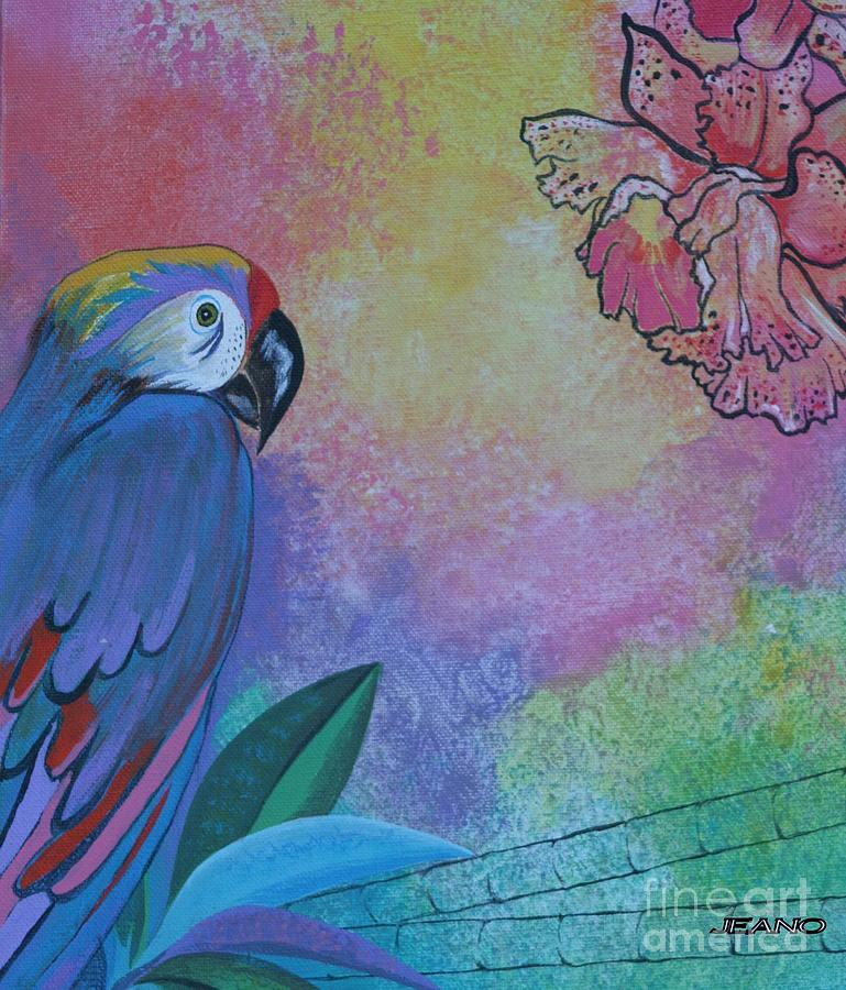 Birds Painting - Parrot In Paradise by Jean Clarke