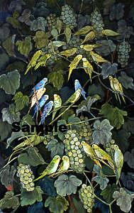 Blue Painting - Parrots by Komi Chen