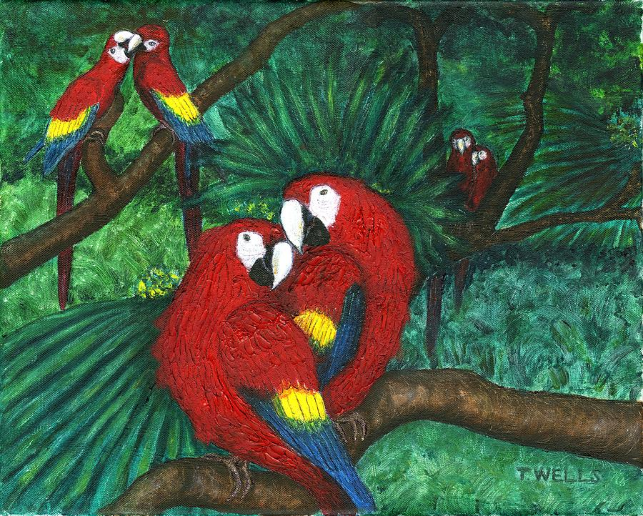 Parrots Painting - Parrots Preening by Tanna Lee M Wells