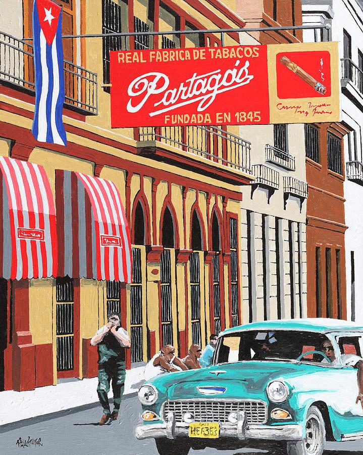 Cuba Street Scene Painting - Partagas Cigar Factory Havana Cuba by Miguel G