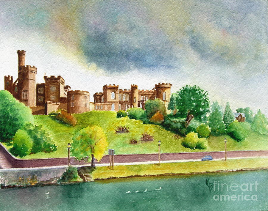 Scotland Painting - Partly Cloudly by Karen Fleschler