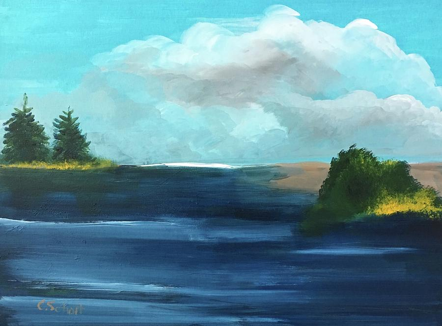 Clouds Painting - Partly Cloudy Skys by Christina Schott