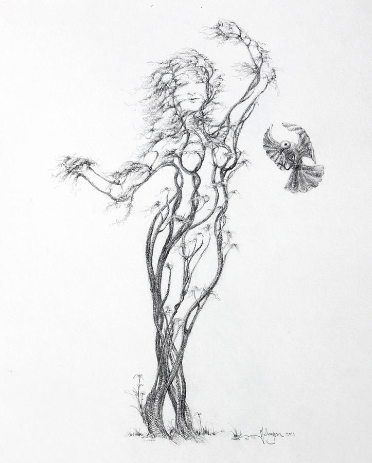 Tree Dancer Drawing - Partners In The Dance by Mark Johnson