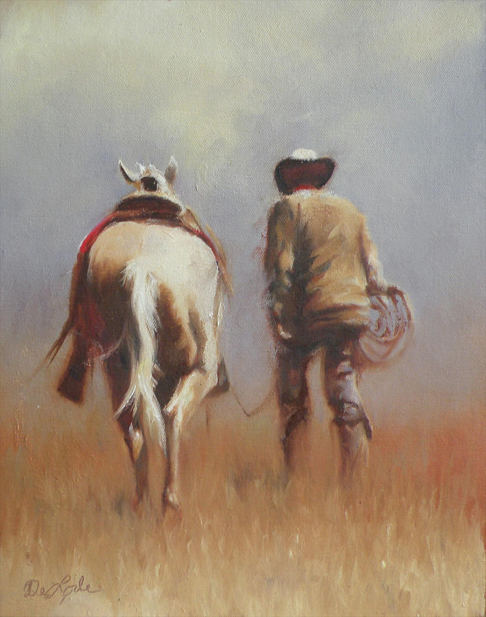 Cowboy Painting - Partners by Mia DeLode