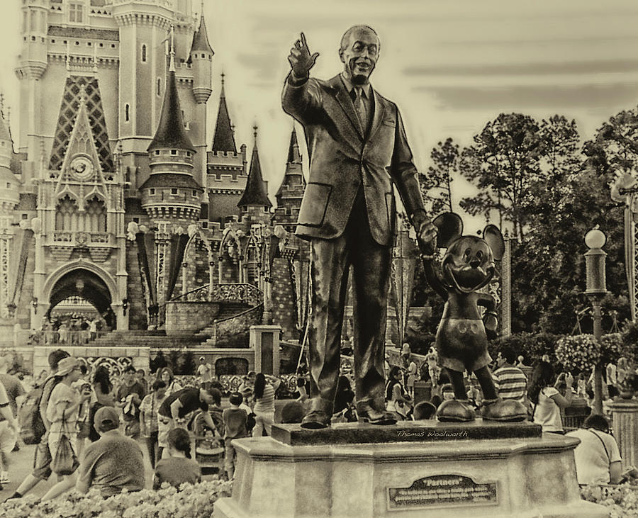 Antique Photograph - Partners Statue Walt Disney And Mickey In Black And White by Thomas Woolworth