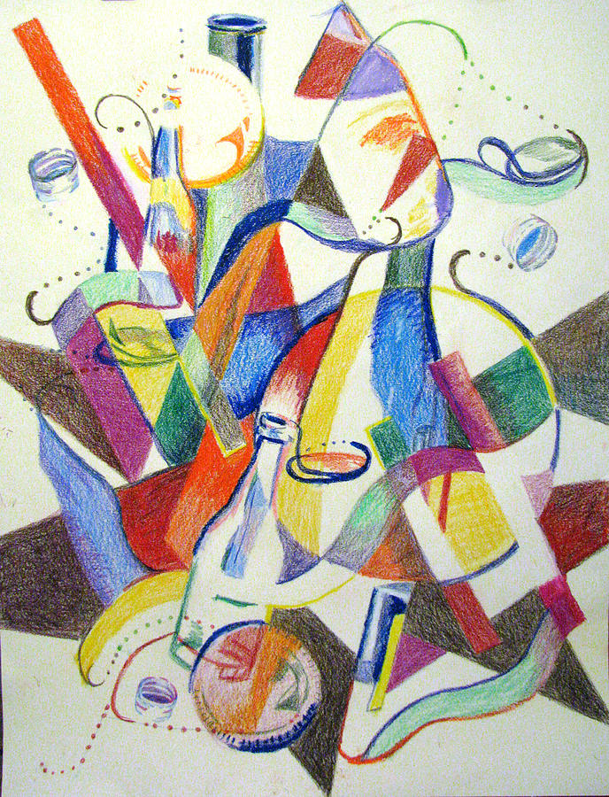 Cubism Painting - Party Bottles by Art Nomad Sandra  Hansen