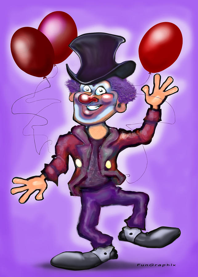 Clown Greeting Card - Party Clown by Kevin Middleton