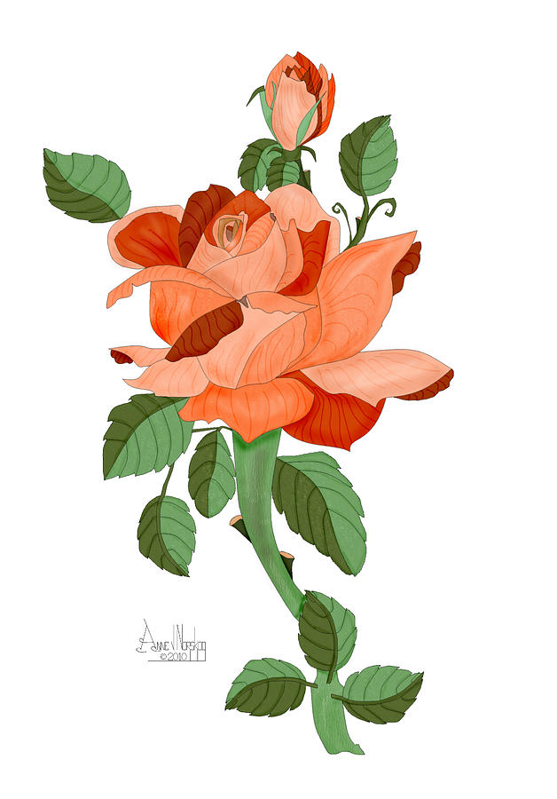 Rose Painting - Party Colored Rose by Anne Norskog