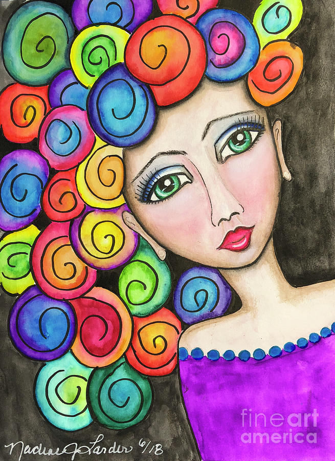 Colorful Painting - Party Girl by Nadine Larder