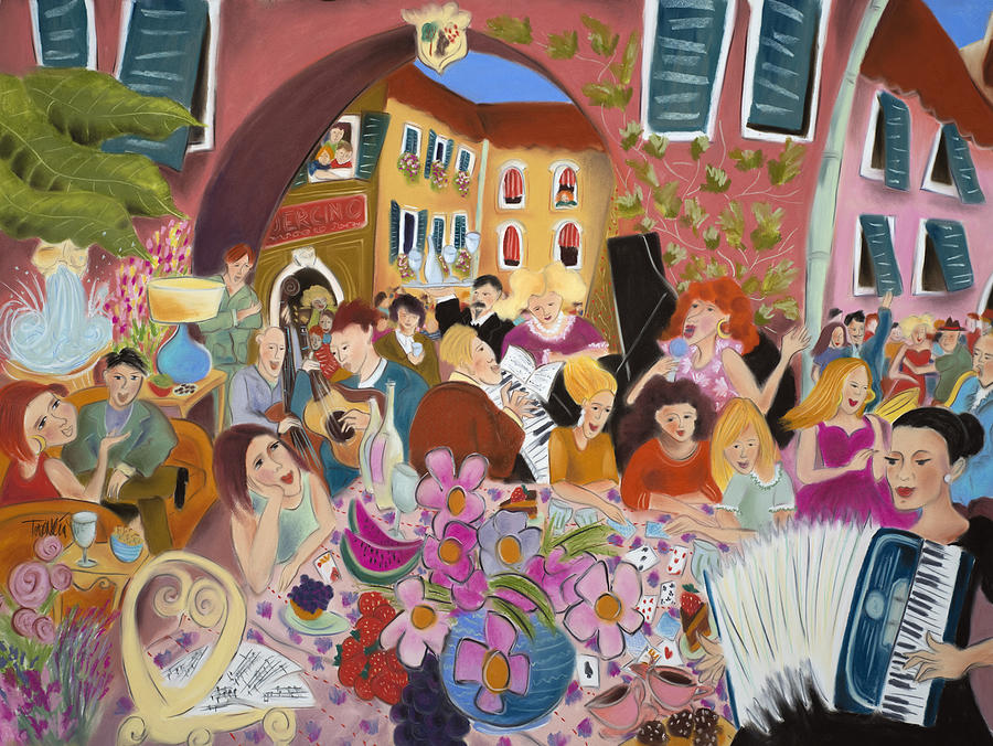 Accordion Painting - Party In The Courtyard by Tatjana Krizmanic