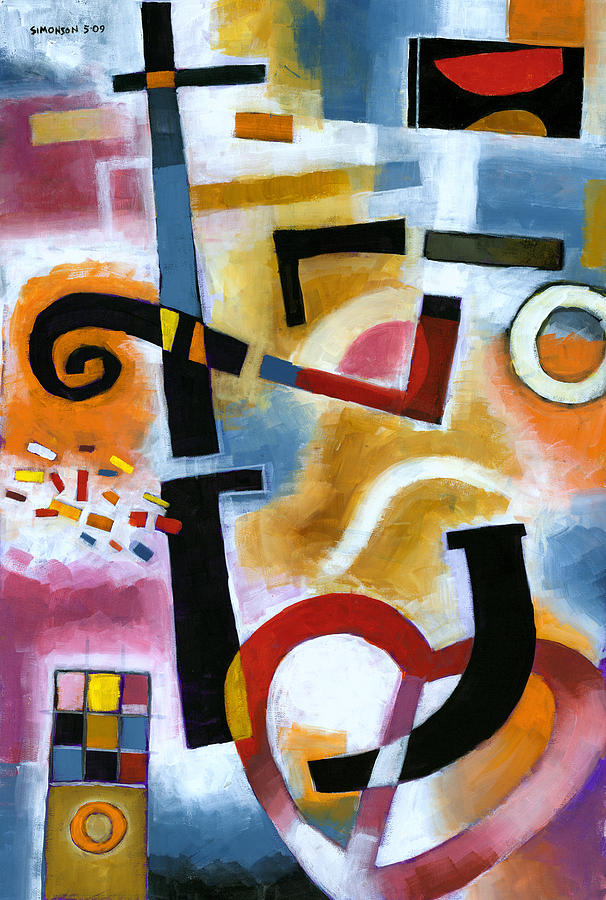 Abstract Painting - Party In The Kitchen by Douglas Simonson