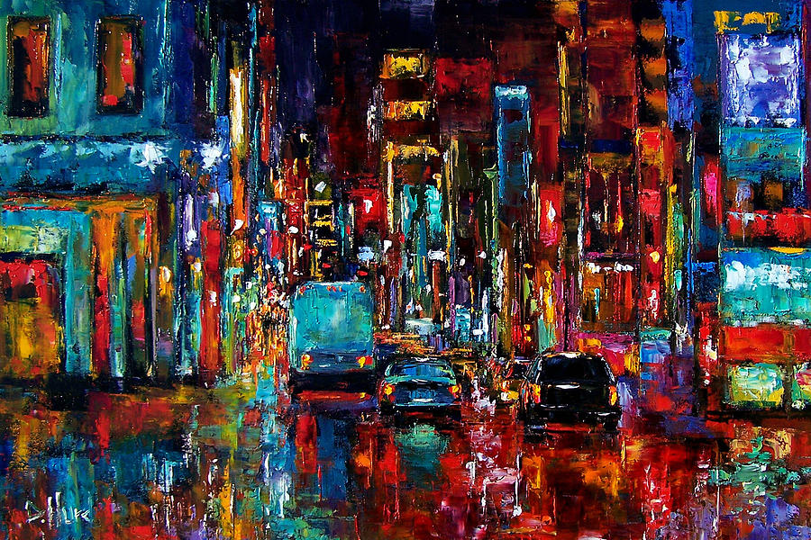 Cityscape Painting - Party Of Lights by Debra Hurd