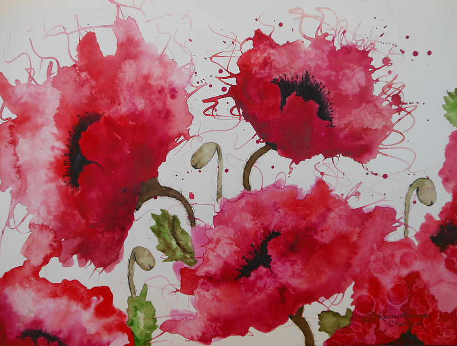 Party Poppies Painting by Karen Kennedy Chatham