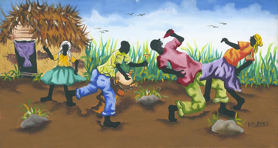 Herold Alveras Painting - Partying by Herold Alveras