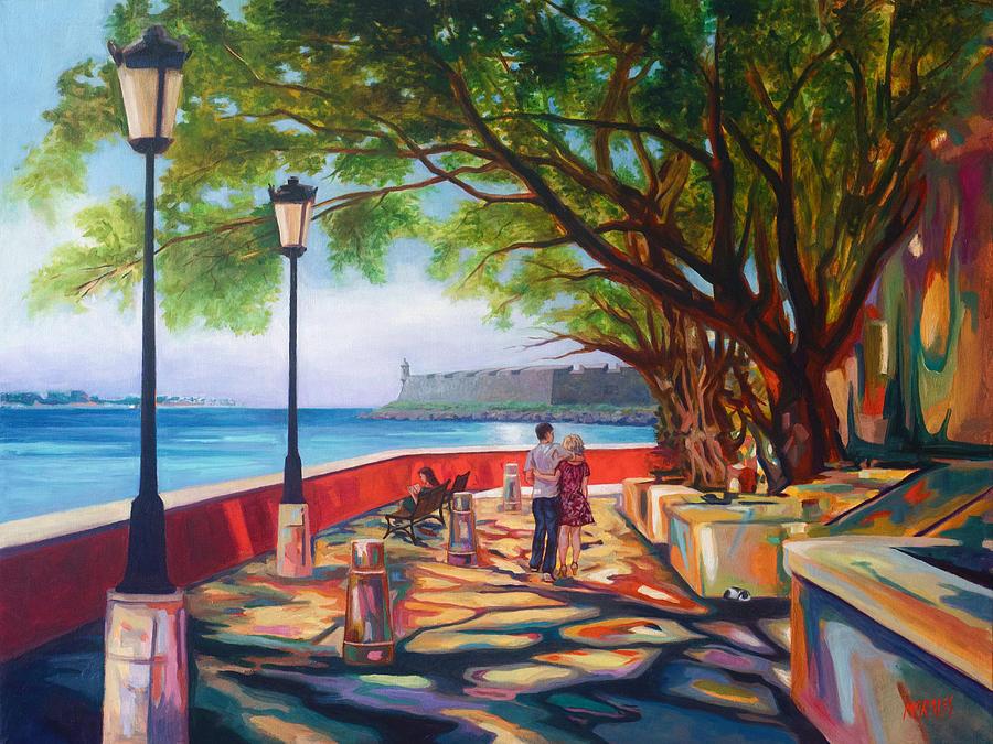 Old San Juan Painting - Paseo de La Princesa by Ben  Morales-Correa