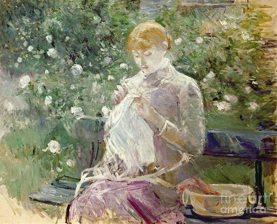 Sewing Painting - Pasie Sewing In Bougivals Garden by Berthe Morisot