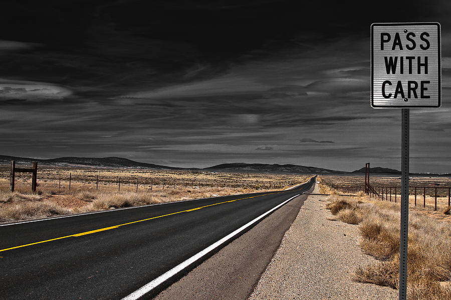 Highway Photograph - Pass With Care by Atom Crawford
