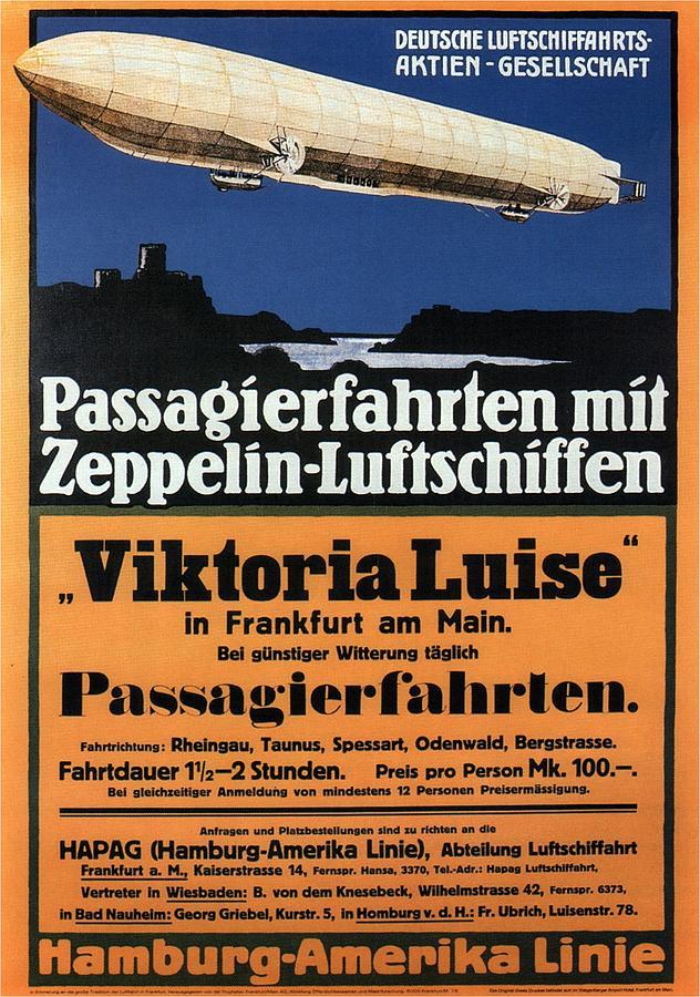 Passagierfahrten Mit Zeppelin-luftschiffen - Viktoria Luise - Retro Travel Poster - Vintage Poster Mixed Media