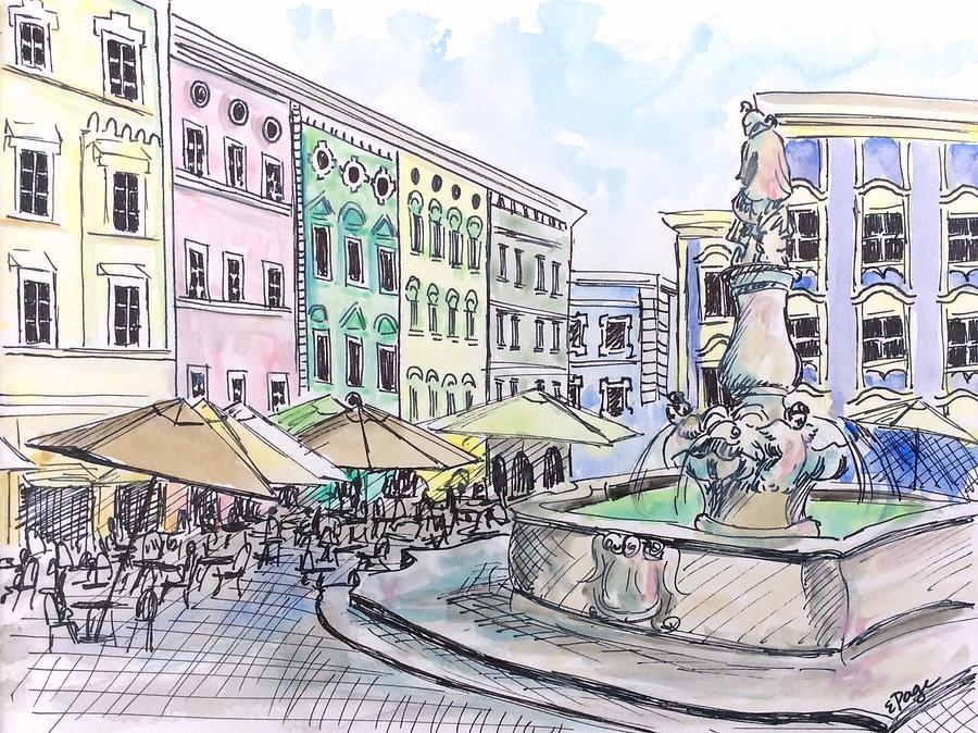 Passau Painting - Passau Town Square by Emily Page