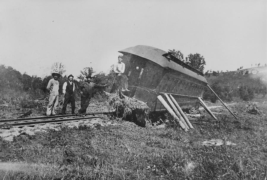 Train Wrecks Photograph - Car Runs Off Rails in Wisconsin by Chicago and North Western Historical Society