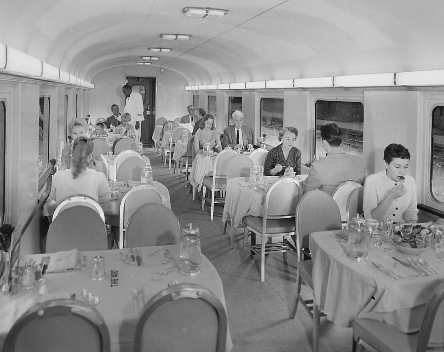 Passenger Cars Photograph - Passengers Eat in Dining Car rebuilt for Bilevel Equipment - 1958 by Chicago and North Western Historical Society