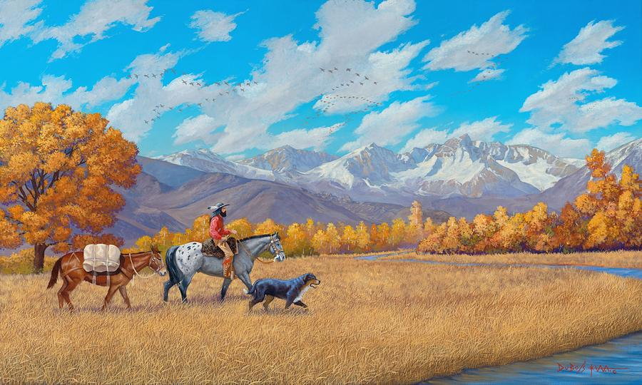 Mountain Man Painting - Passin Through by Howard Dubois