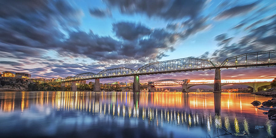 Passing Clouds Above Chattanooga Pano by Steven Llorca