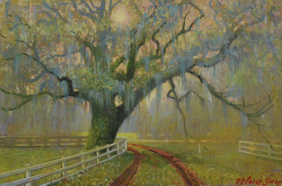 Landscape Painting - Passing Spring Shower by Blue Sky