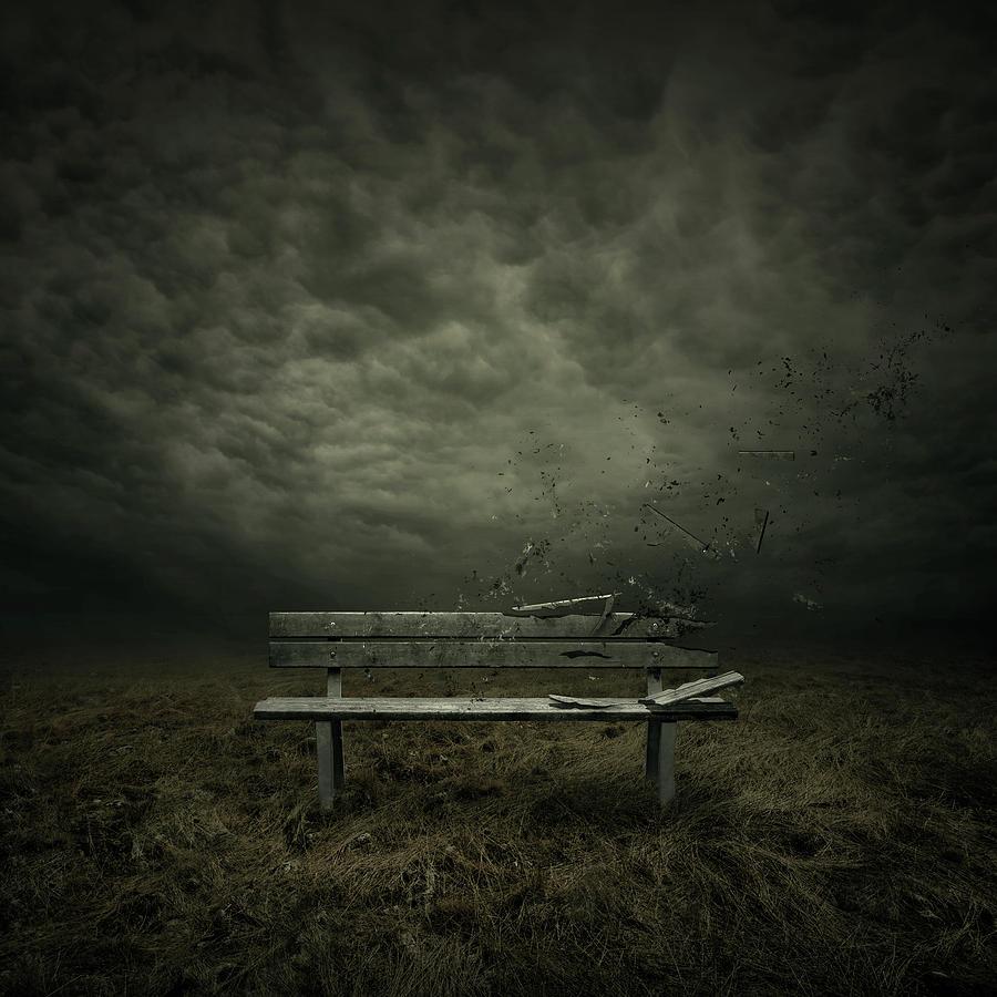 Bench Digital Art - Passing by Zoltan Toth