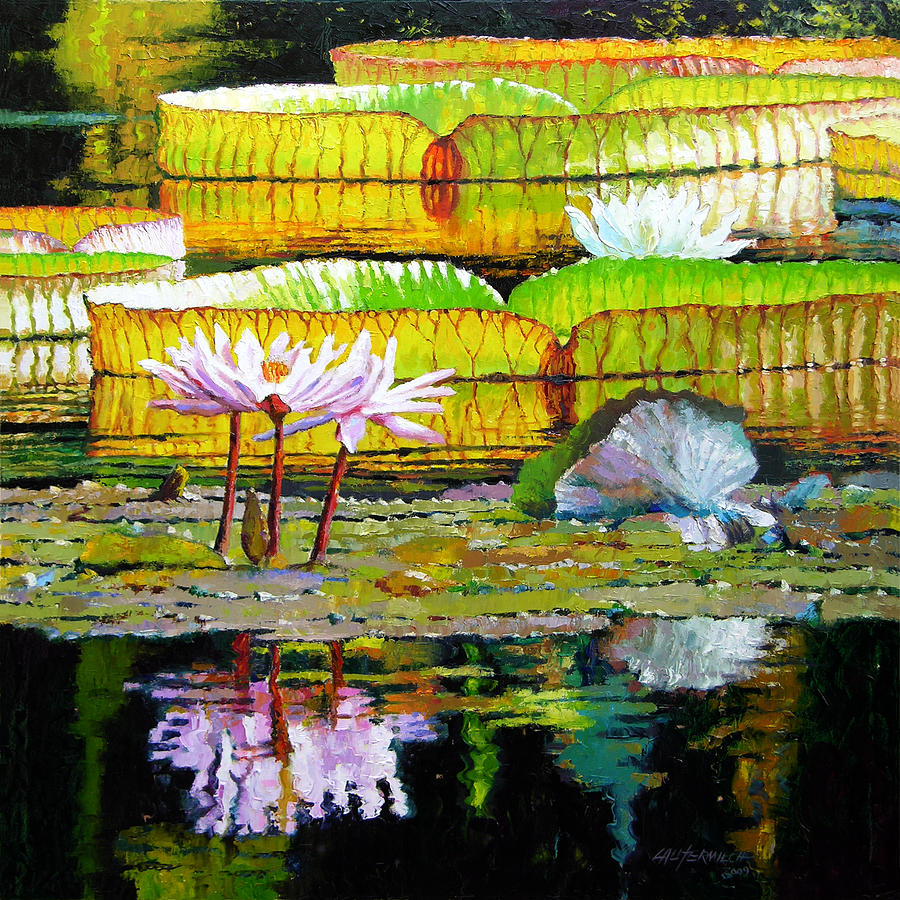 Water Lilies Painting - Passion for Color by John Lautermilch