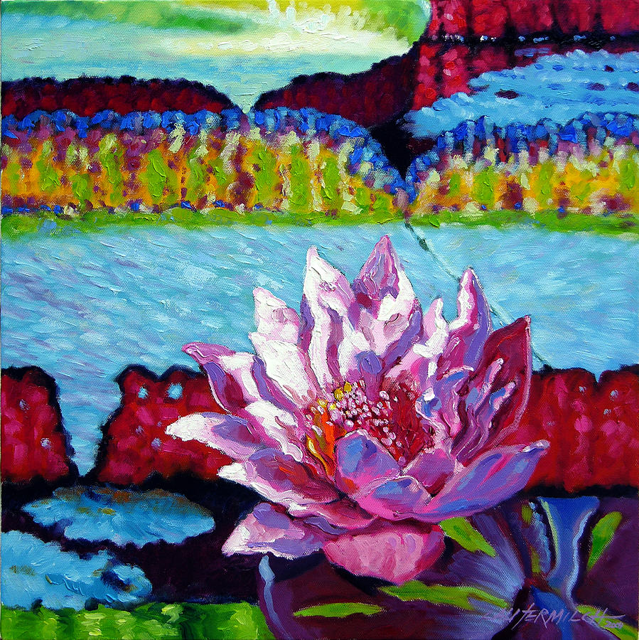 Water Lily Painting - Passion For Light And Color by John Lautermilch