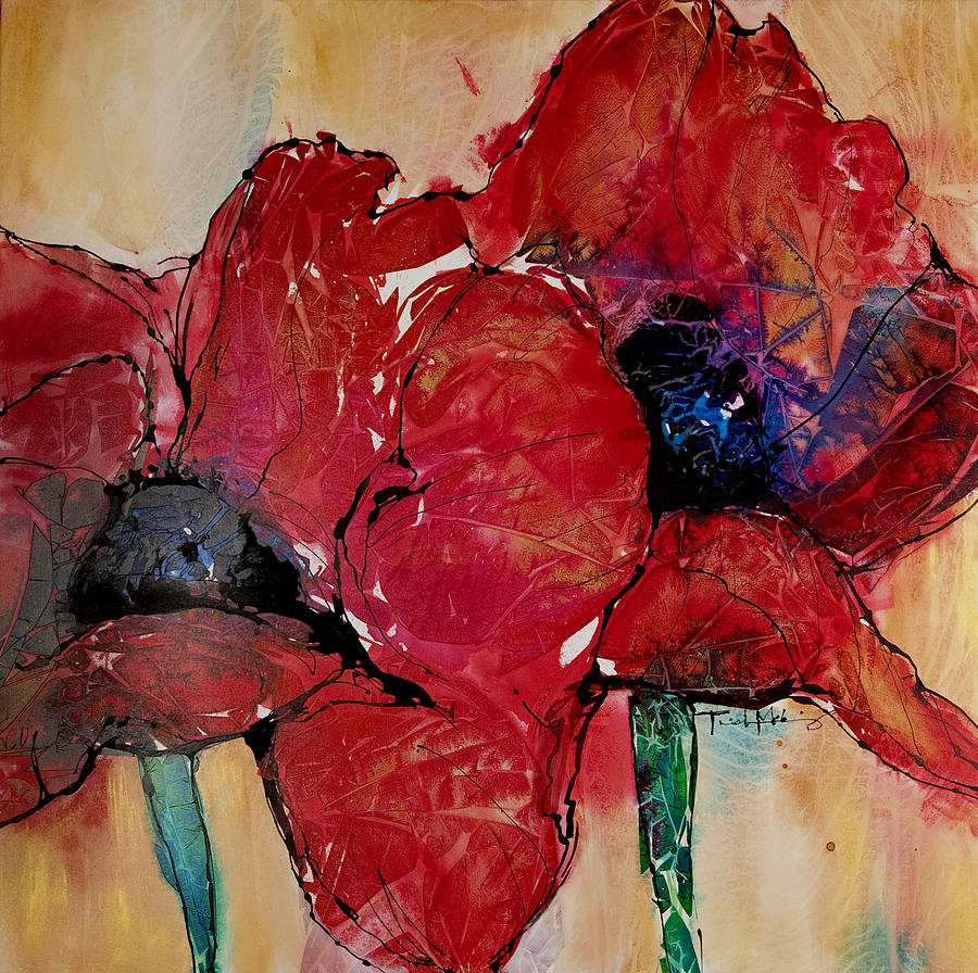 Gestural Floral Paintings Painting - Passion II by Trish McKinney