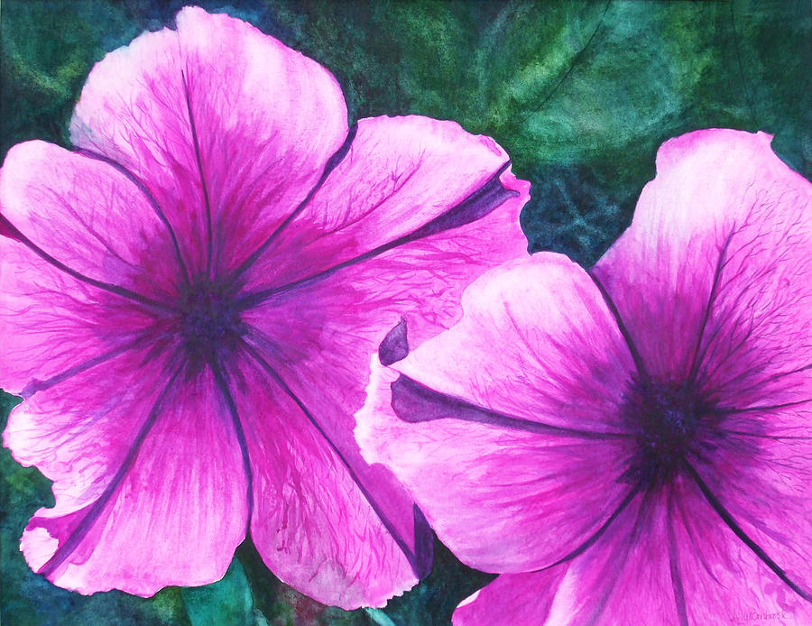Petunia Painting - Passionate Petunias by Ally Benbrook