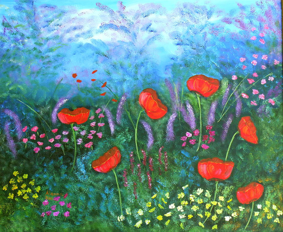 Floral Painting - Passionate Poppies by Alanna Hug-McAnnally