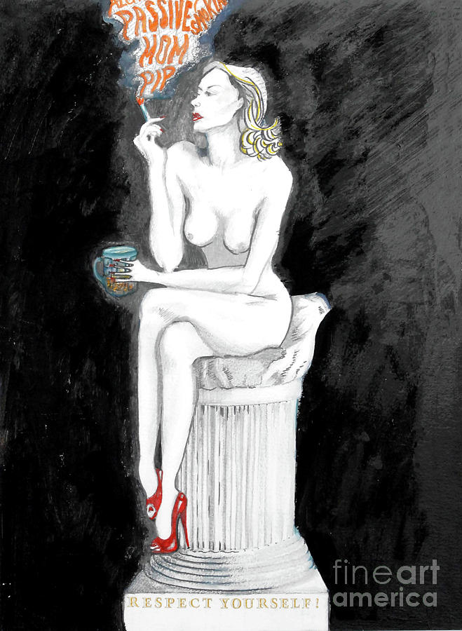 Passive Smoking Painting by Michelle Deyna-Hayward