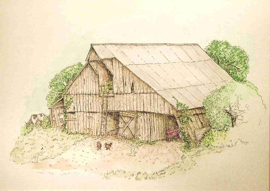 Barn Painting - Past Her Prime by Jane Wallace