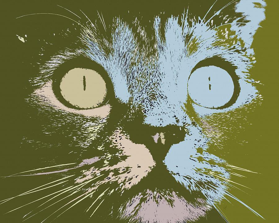 pastel cat pop art digital art by shelli fitzpatrick