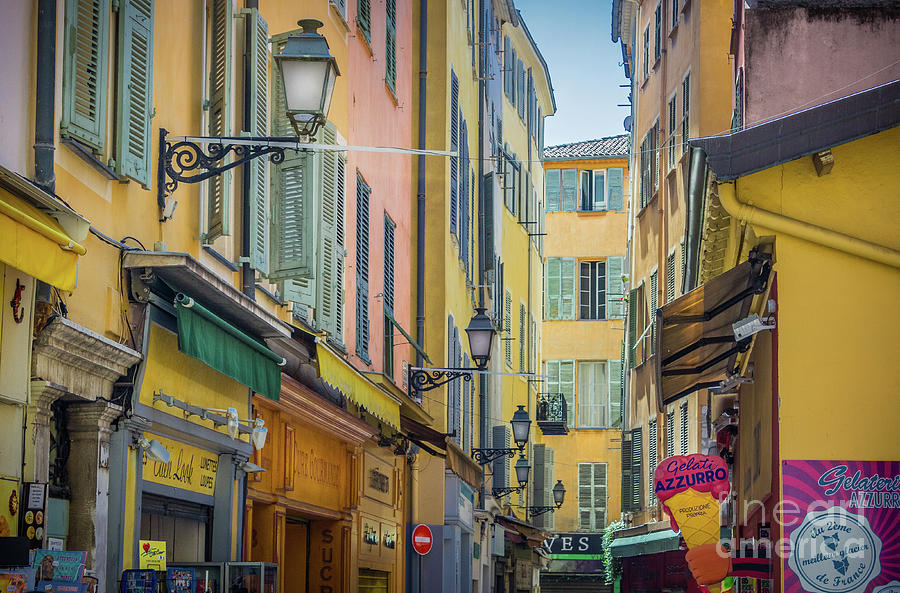 pastel colors of narrow alley in old town nice france photograph by liesl walsh. Black Bedroom Furniture Sets. Home Design Ideas